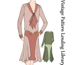 1929 Ladies Dress With Side Drapes - Reproduction Sewing Pattern #Z6254