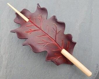 Leather Oak Leaf Barrette, Hair Slide in Burgundy, Dark Red, Medium Size Barrette or Shawl Pin, Rounded White Oak Shape, Hair Leaf Accessory