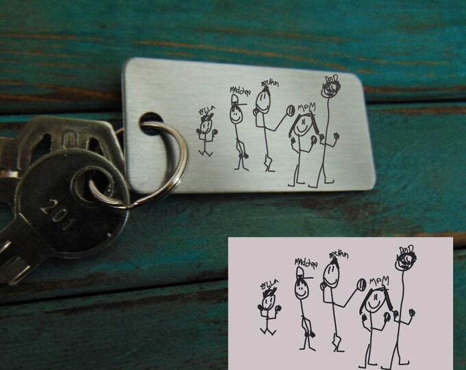 Child's Handwriting Key chain  - Mom's Handwriting -  Laser Engraved - Christmas- Perfect Gift
