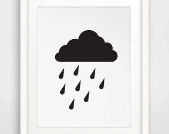 Rain Cloud Print, Cloud Art, Cloud Nursery, Cloud Wall Art, Rain Cloud Art, Nursery Artwork, Cloud Artwork, Rain Cloud Wall Prints