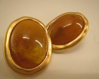 vintage Jacqueline Feraud signed post back earrings orange gold tone