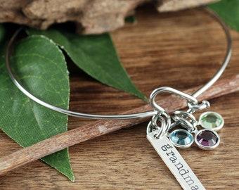 Silber-Herz-Armband, Oma Geburtsstein Armband, Birthstone Schmuck, Geburtsstein Armband, Muttertag Armband, Geschenk für Oma