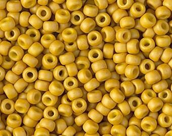 Seed Beads-6/0 Round-1233 Matte Opaque Mustard-Miyuki-16 Grams