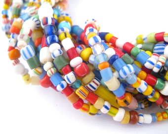 350 Christmas Beads - Love Beads - Tiny Chevrons, Seed Beads - African Glass Beads - Jewelry Making Supplies - Made in Ghana ** (XMAS-206)