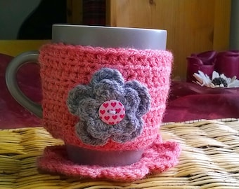 Cup cozy, Tea or Coffee Cozy in pink and gray with or without flower - Mug Sweater, Mug Cover