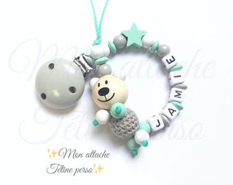 """personalized wooden pacifier ~ bear """"Jamie"""""""