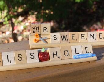 Custom Scrabble Desk Teacher Nameplate
