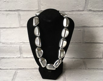 Miss Fox Necklace Silver Pebble Stone Gorgeous Simply Classy Stunning Statement Funky
