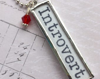 Introvert Necklace, Word Jewelry, INFJ