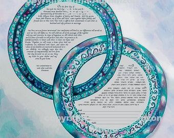Ketubah, watercolor ketubah, interfaith ketubah, modern ketubah, Jewish katubah, marriage certificate, Jewish wedding, ketubahs
