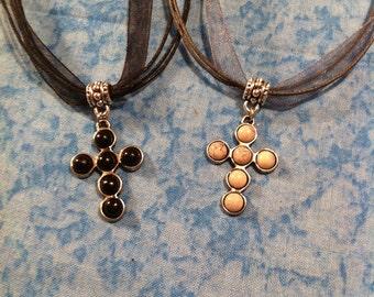 Bubble Cross Necklace - Pick Your Color