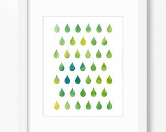 Green print, water drops print, colorful print, green decor, green blue watercolor print, ombre print, rain print, instant download, 8x10