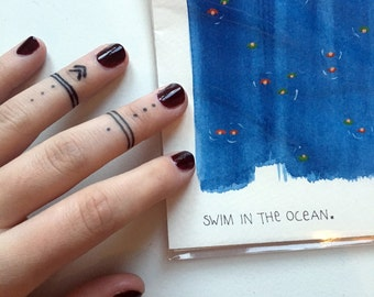 Swim in the ocean - handmade unique aquarelle blank postcards set - every occasion - perfect gift wedding, house warming - home decor