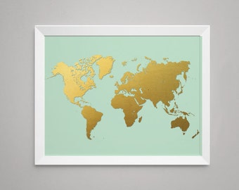 Kids wall map etsy world map in printed gold foil on mint print artwork poster gumiabroncs Choice Image