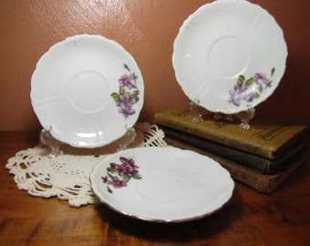 Three (3), Small Vintage Plates - Purple Flowers - Made in Japan