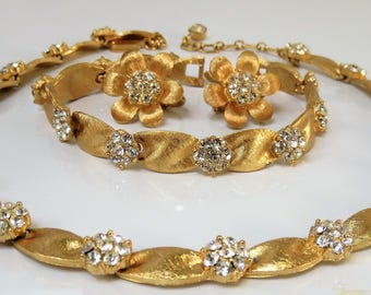Vintage Crown Trifari Textured Satin Goldtone and Rhinestone Parure - 1960's - Mint Condition - Necklace Bracelet and Clip Earrings