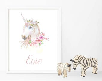 Watercolour Unicorn Name Print