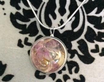 Pale pink flower resin bezel necklace