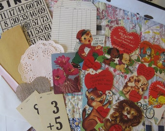 Lot ONE Vintage Valentine 18 Piece Ephemera Bundle