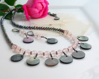 Long Pearl and Rose Quartz Necklace with Black Lip Fringe Focal, Reversible Dark or Light Shell, Shell Earrings, Shell Pearl and Quartz