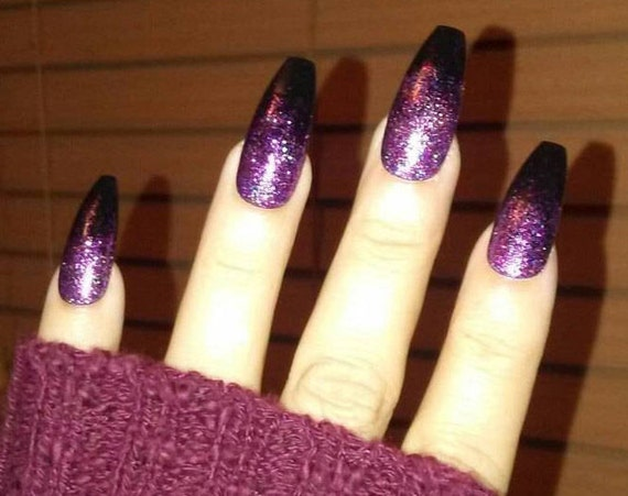 Black Coffin Nails W/ Pink U0026 Purple Glitter Long Or Short
