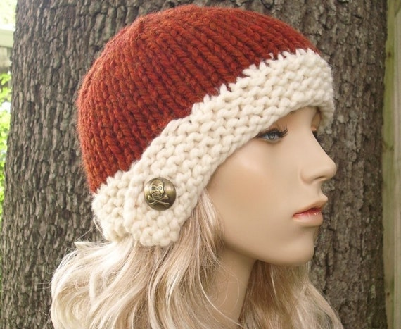 Knit Hat Womens Hat - Cloche Hat in Rust Orange and Cream Knit Hat - Orange Hat Orange Beanie Womens Accessories Winter Hat