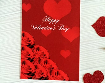 Red Valentine's Day Card, Valentine's Day, Greetings Card, Illustrated Card