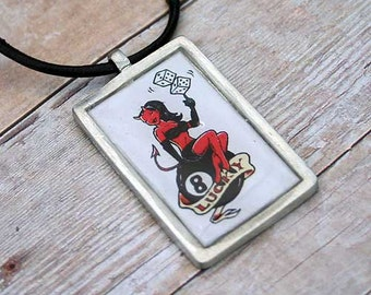 Leather Surfer Necklace Choker With Pewter Dog Tag Lucky Bad Girl