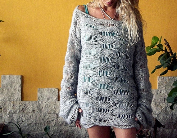 Boho Sweater Open Knit Slouchy Pullover Unisex AOSZDlgh