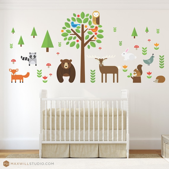 modern forest animals wall decal woodland animals wall decal. Black Bedroom Furniture Sets. Home Design Ideas