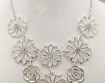 Silver Flowers with Crystal Clear Beads Bib Necklace / Silver Flowers Bib Necklace.