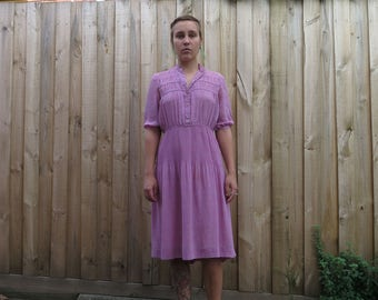 Floaty 80s pink chiffon prairie dress