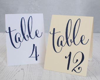 Navy Blue Wedding Table Numbers - Double Sided Table Numbers - Wedding Table Cards- Wedding Table Numbers Navy - Nautical Table Numbers