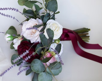 Burgundy Lavender Silk Flower Bouquet
