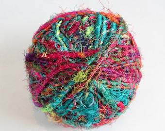 Recycled Silk Fiber / Fairtrade Silk Thread / Rustic Fiber / Natural Art Fiber / Fairtrade Fiber / Knitting / Crochet / Yarn for Weaving