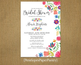 Elegant Mexican Fiesta Bridal Shower Invitation,Bright Flowers,Mexican Flowers,Shimmery,Personalize,Custom,Printed Invitation,Envelopes