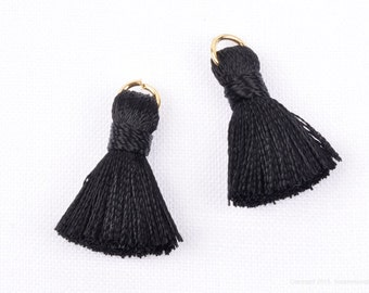 T002-RA-BB// Black, Black Rayon Tassel Pendant, 4pcs, 23mm