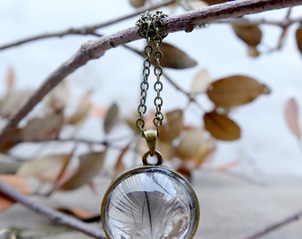 Natural feather necklace, gift for woman, terrarium necklace, woodland jewelry, glass orb necklace, inspirational, boho necklace,