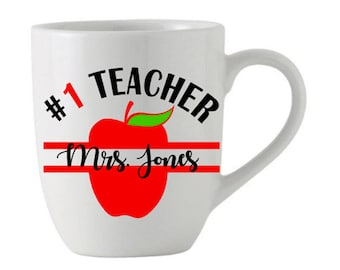 Number 1 Teacher Monogram Name Personalized Coffee or Tea Mug