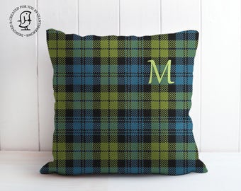 Decorative Tartan Cushion that can be Personalised with a Letter. Decorative Pillow - Monogram - Campbell Clan, Tartan - Kilt - Scotland