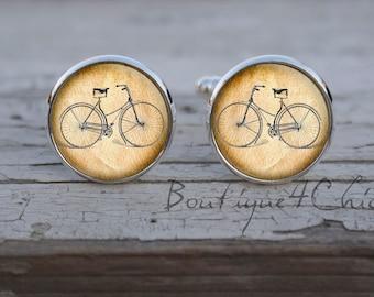 Retro bike, cufflinks, Bicycle cufflinks, bike cuff links, vintage bicycle, men cufflinks, groom, groomsmen, geeky
