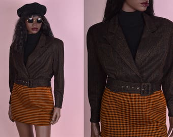 90s Cropped Tweed Jacket/ Small/ 1990s