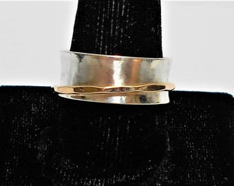 Spinner Ring, Spinner Ring Woman,  Silver Spinner Ring, Sterling Silver Spinner Ring, Sterling Silver and Gold Spinner Ring