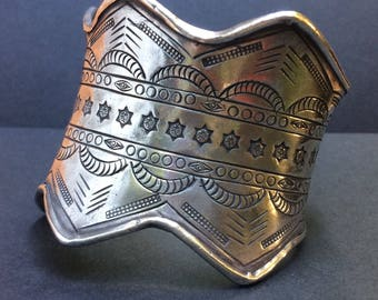 Very unusual silver Hill Tribe cuff bracelet