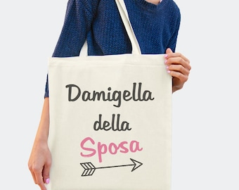 Damigella sposa shopper-damigella tote bag-wedding tote bag-bridesmaid tote-italian wedding-bridal tote-wedding-by GLAMOUR TOTE-GT47