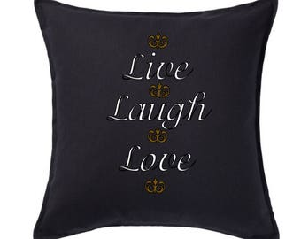 Live, laugh, live cushion cover with insert