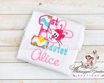 My First Easter Appliqued Shirt, Personalized Shirt, Custom Easter Bunny Outfit, Bunny Shirt, Girls Bunny Shirt, 1st Easter Outfit