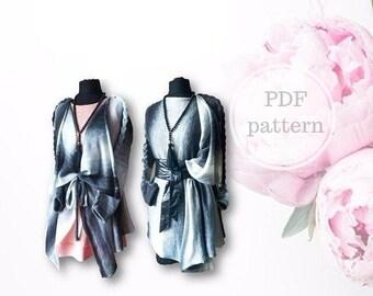 Cute Oversize Cardigan, PDF pattern,  Machine Knitting
