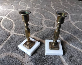 Set of Two Marble and Brass Candlestick Holders