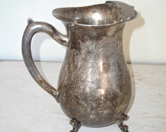 silver water pitcher with ornate etched design and ice lip - for serving drinks or holding flowers - footed vase - shabby cottage chic